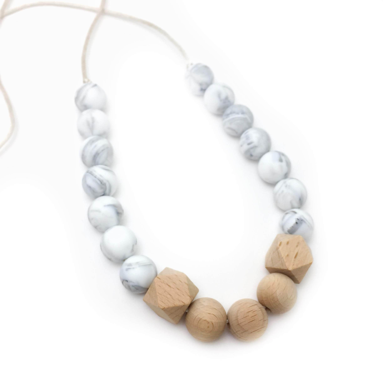 Teething Nursing Breastfeeding Necklace Wood Beads Baby Chew Teether Toy Jewelry