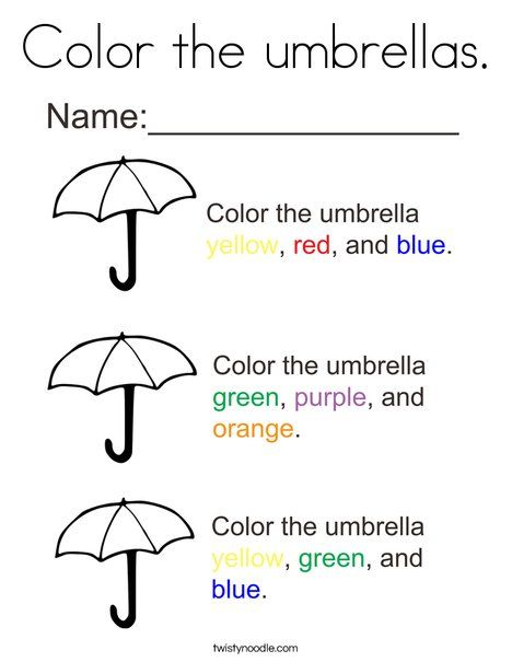color the umbrellas coloring page twisty noodle weather activities and mini books umbrella. Black Bedroom Furniture Sets. Home Design Ideas