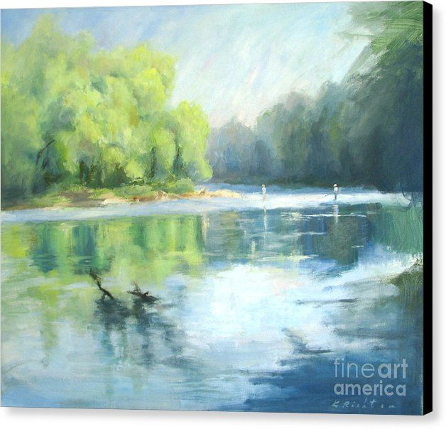 Landscape Canvas Print featuring the painting Chattahoochee River- Trout Fishing by Keiko Richter