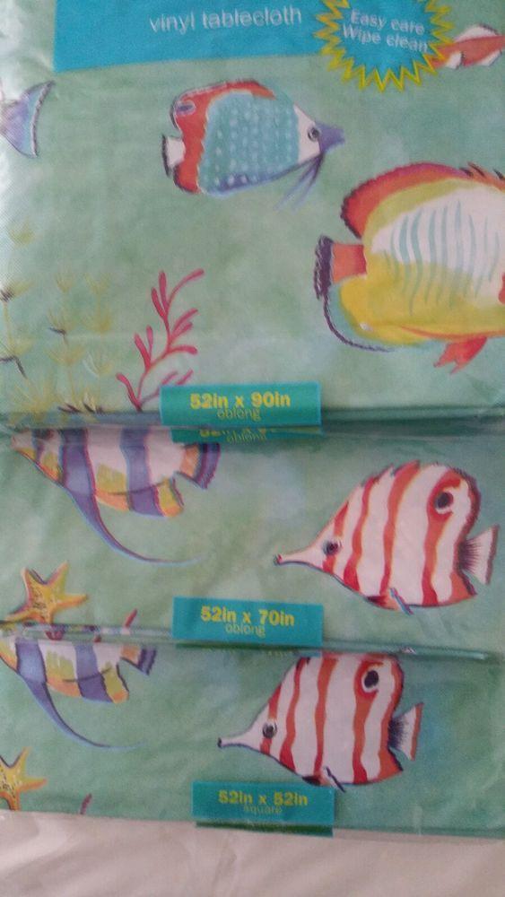 New Coastal Tropical Fish Vinyl Tablecloth, 2 Sizes