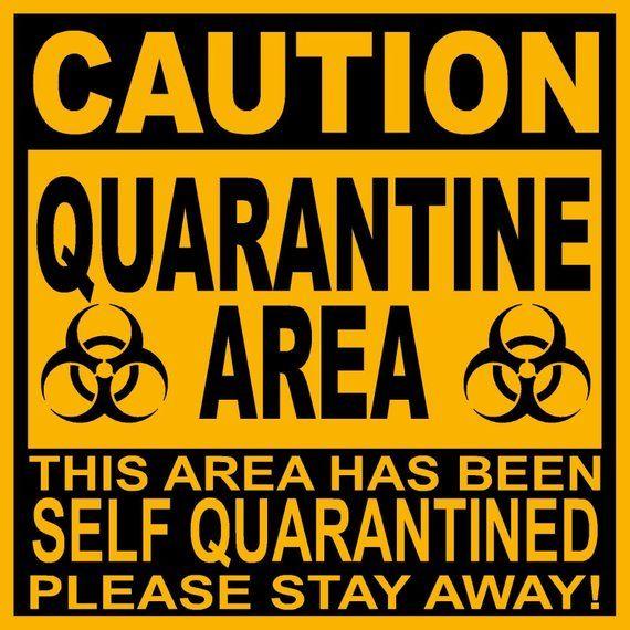 """9"""" X 9"""" PVC Sign Caution Quarantine Area"""