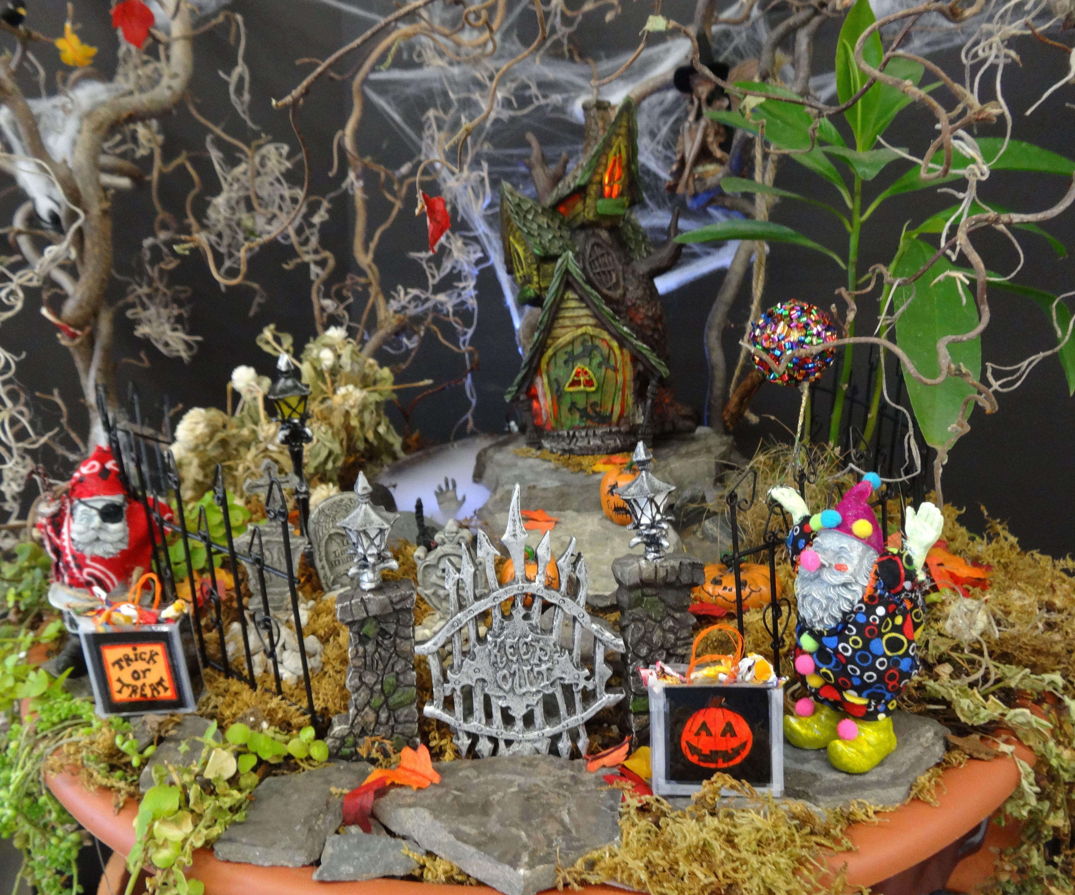 Gnome In Garden: Miniature Halloween Gnome Scape. Designer
