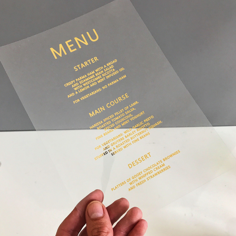 Wedding Breakfast Menu, Gold Foil Wedding menu, clear menu, modern ...