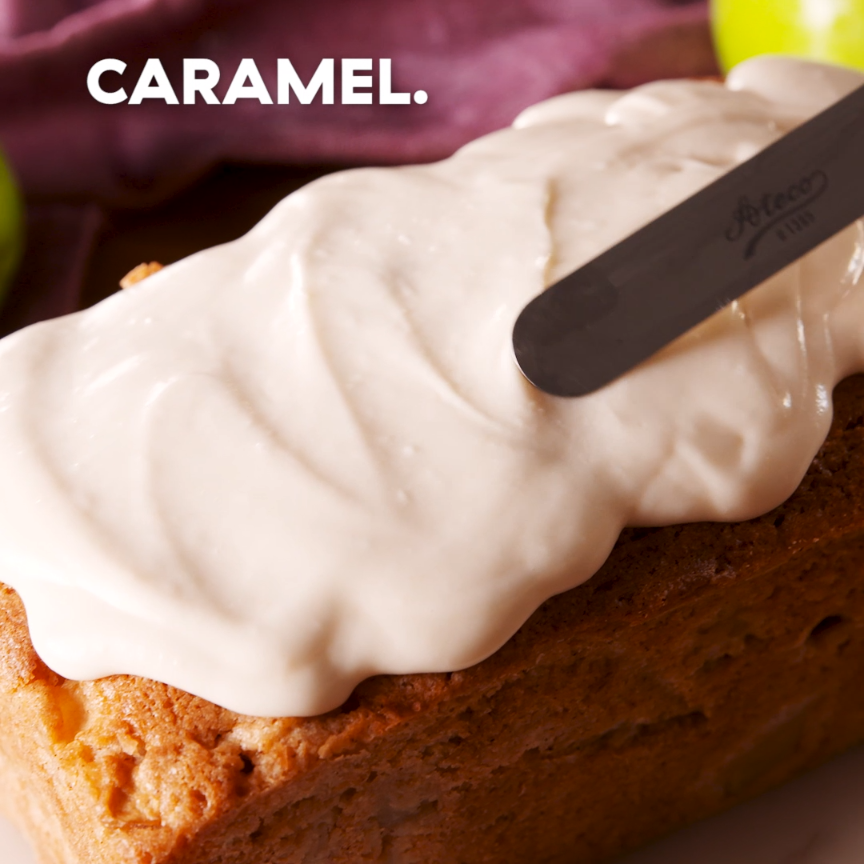 Caramel Apple Pound Cake We know it seems like pound cake takes forever to bake. It may seem tempting to pull it out sooner, but because there are so many delicious apples in the batter, it takes awhile for all that excess moisture to cook out. We LOVE how chock-full of fruit this cake is, but if you're after a shorter cook time, reduce the amount of apples by half. Get the recipe at .