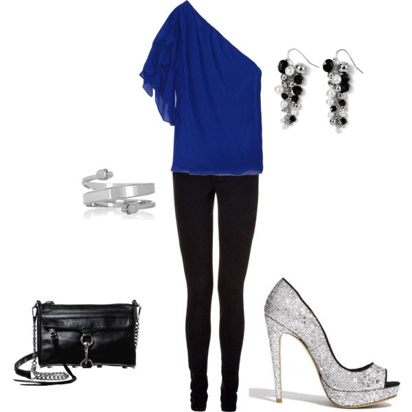 Blue blouse with silver shoes. :)