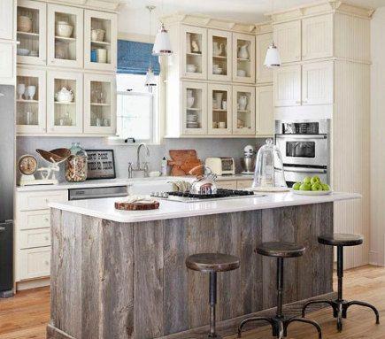 Weathered Wood Island Kitchens Wood Kitchen Island Cottage Kitchens Reclaimed Wood Kitchen