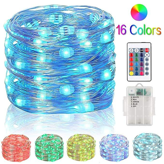 RGB Fairy Lights 33ft 100 LED String Lights Battery Operated Multi