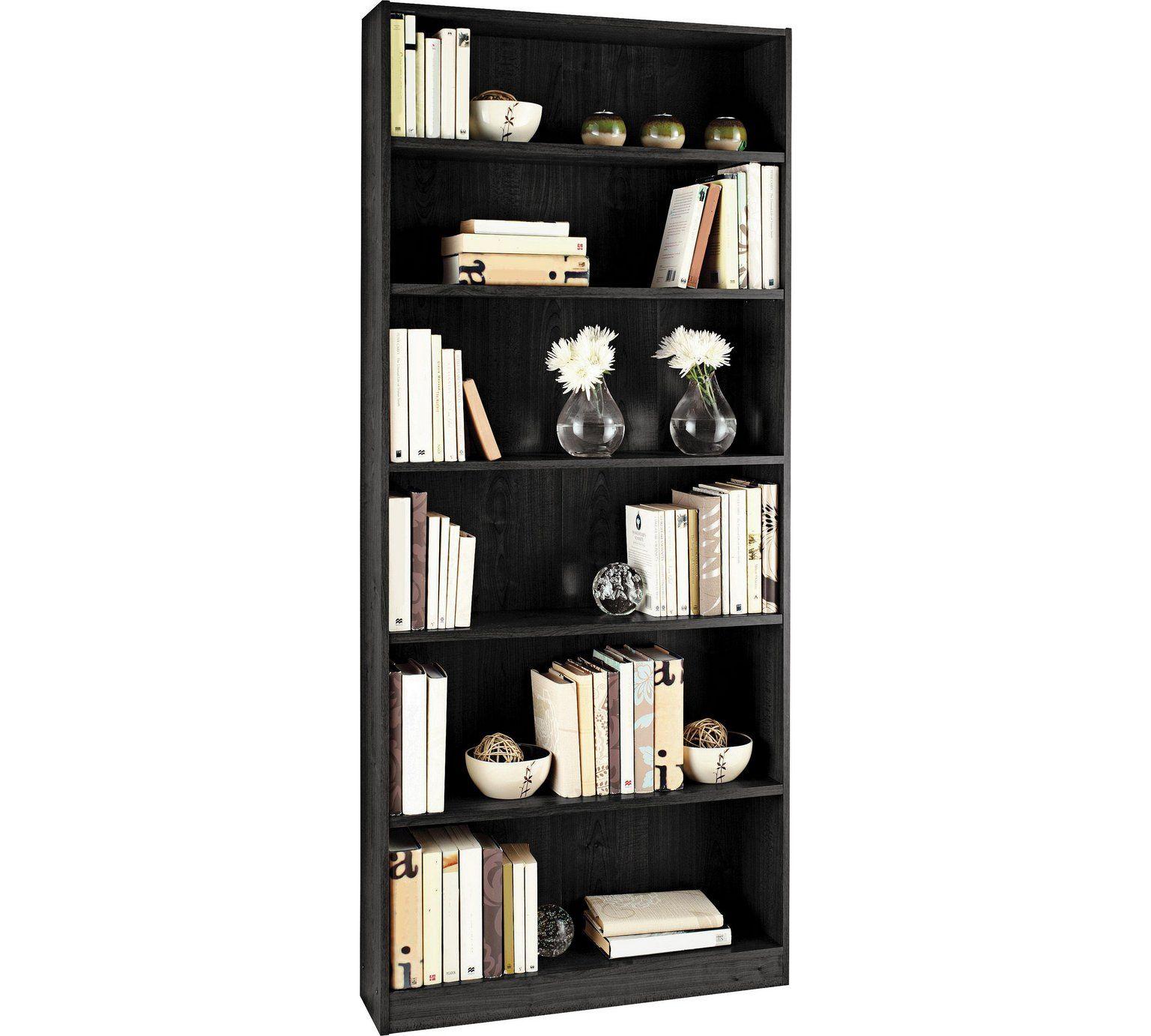Buy Argos Home Maine 5 Shelf Tall Wide Bookcase Black