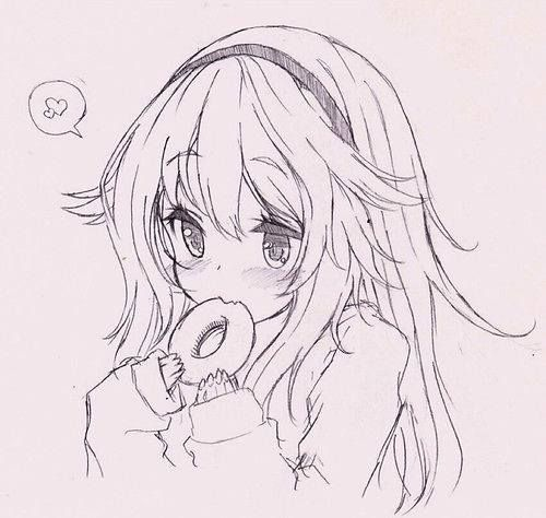 Cute anime girl doughnut lover sketch it