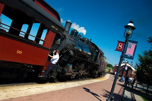 Ride on an authentic Steam train at the Strasburg Rail Road