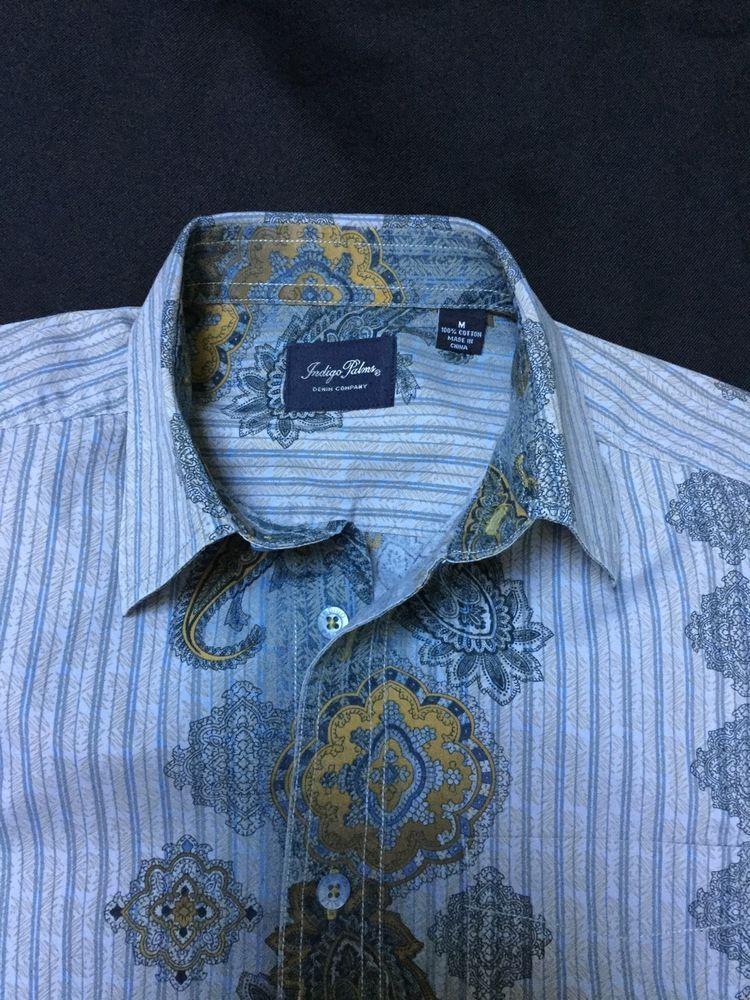1f7438a5e3 Men s Tommy Bahama Indigo Palms Denim Company Funky Button Down Shirt  Medium