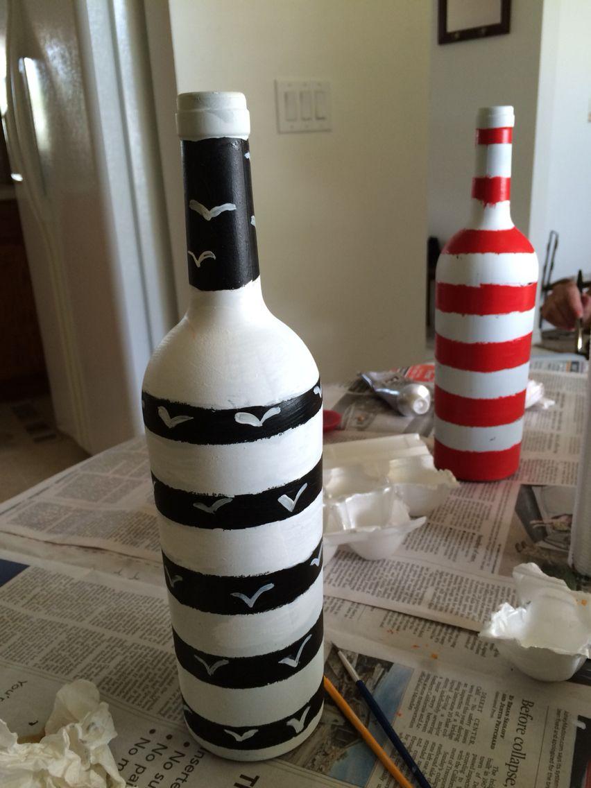 Wine bottle lighthouse Lighthouse Craft Lighthouse Painting