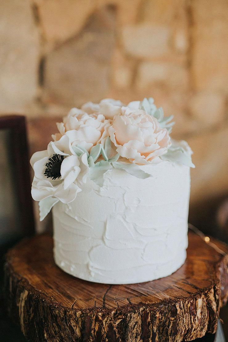 Single Tier White Buttercream Wedding Cake Topped With Pastel Sugar Peonies And Anemones On A Rust Floral Wedding Cakes Wedding Cake Rustic Groom Wedding Cakes