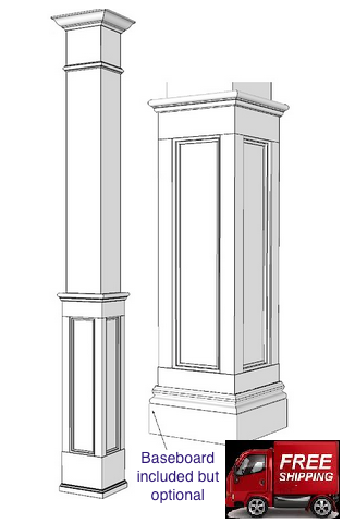 Square Wood Half Paneled Column Wainscoting Square