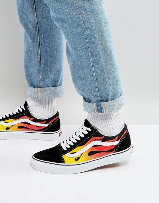 Vans Flame Old Skool Sneakers In Black VA38G1PHN in 2019  cbb3bb940