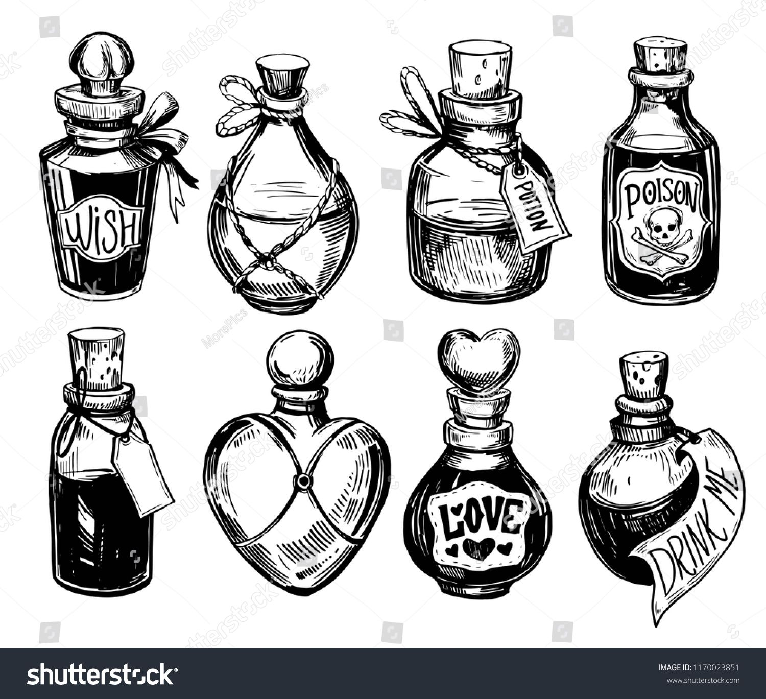 Bottles Potions Poison Love Potion Hand Stock Vect