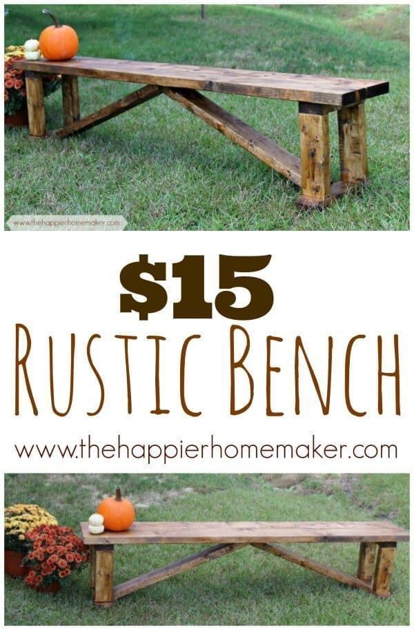 Rustic $15 DIY Bench is part of Diy bench, Rustic bench, Garden bench diy, Making a bench, Cheap benches, Rustic diy - Wondering how to make a bench, or better yet, a cheap bench  It's easier than you think! Build this simple Farmhouse DIY Bench for just $15 in supplies!