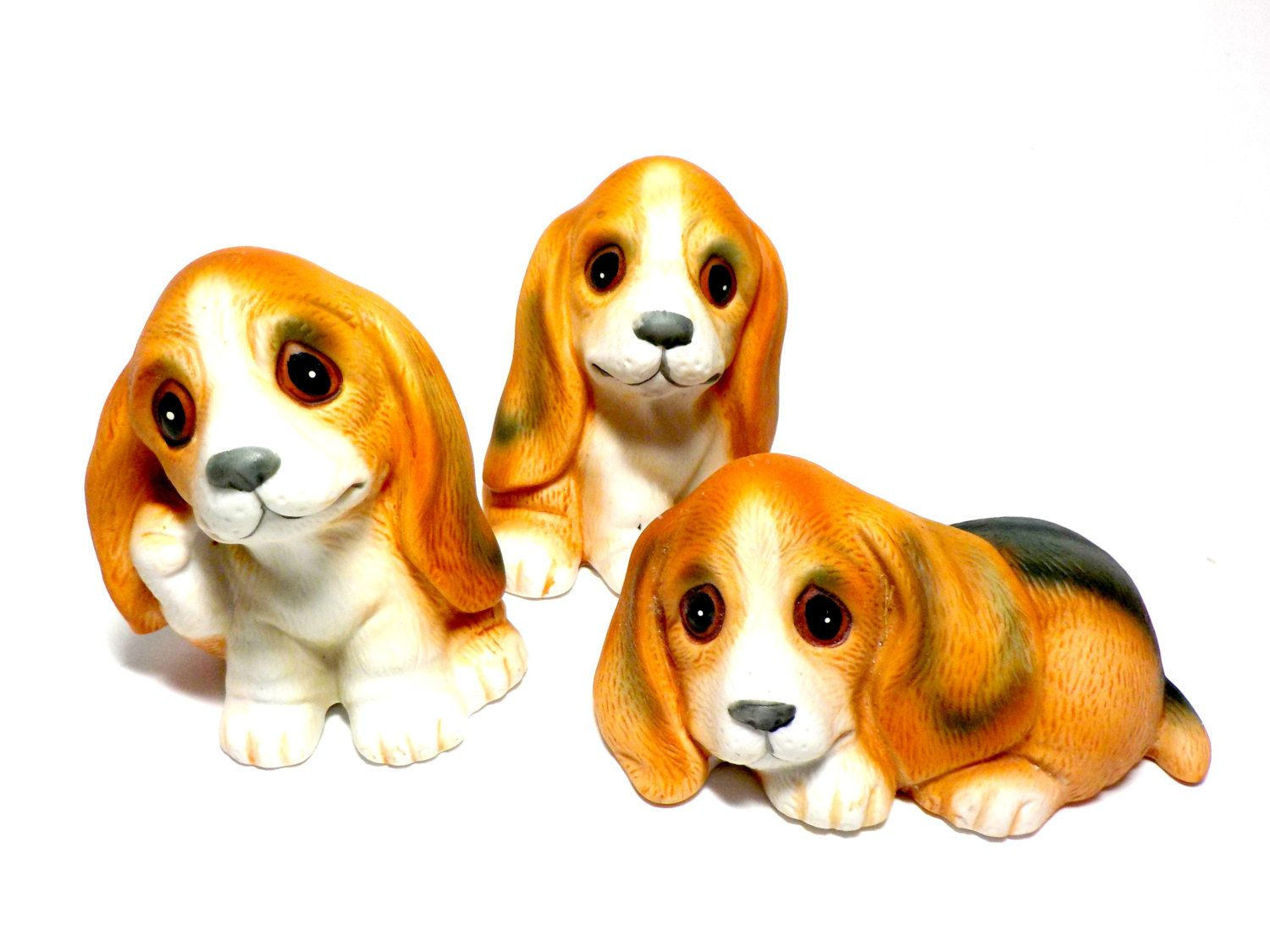 Beagle Figurines Set Of 3 Adorable Beagle Puppies Miss Pea Uno