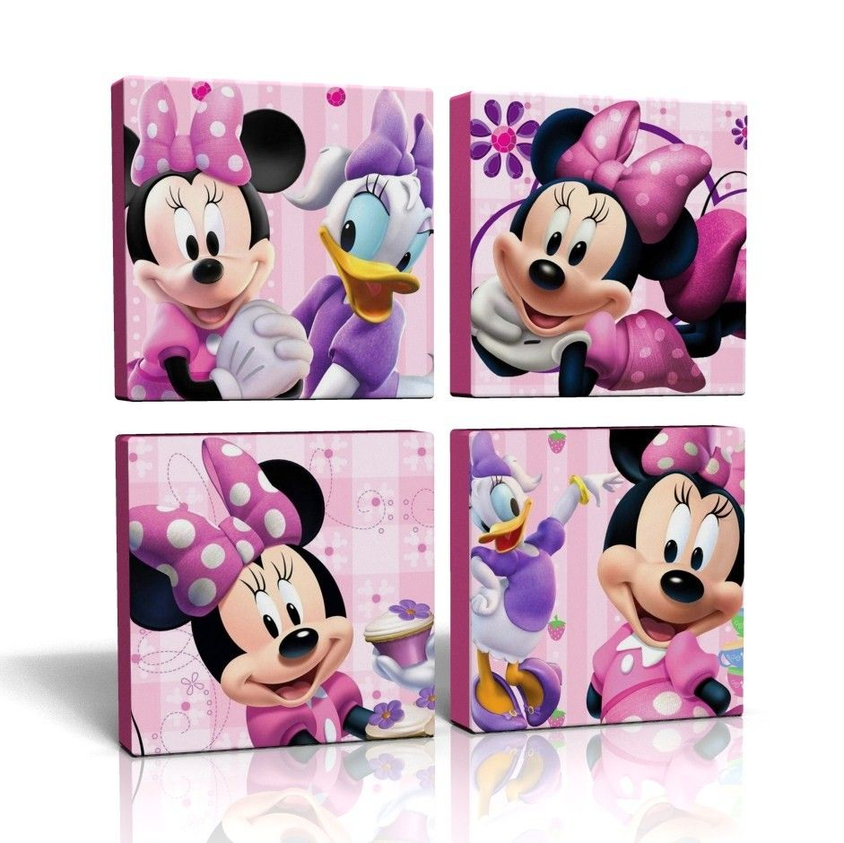 4 x deep edge canvas pictures wall art pink minnie mouse free pu0026p new