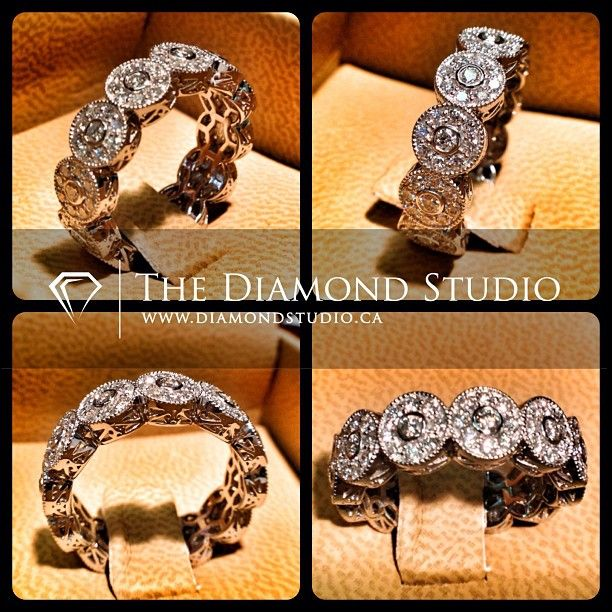 Here is my latest vintage design. The piece features 12 circle stations. Each station has 9 diamonds in a bead setting. I added some beading around each station and added some filigree to the gallery. Nobody does vintage-inspired pieces like The Diamond Studio! This is what I do. #diamonds #weddings #engagementring #ring #rings #jewellery #jewelry #halo #vintage #thediamondstudio