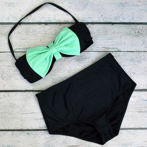 Omg this is so cute Grenada Beach Big Mint Bow High-Waist Bikini | Amazing Lace