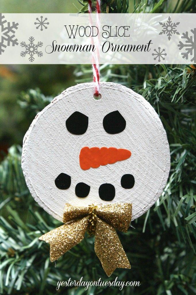 DIY Wood Slice Snowman Ornament Handmade christmas tree
