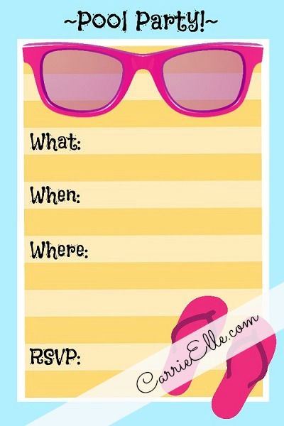 pool party - free printable party invitation template | greetings, Birthday invitations