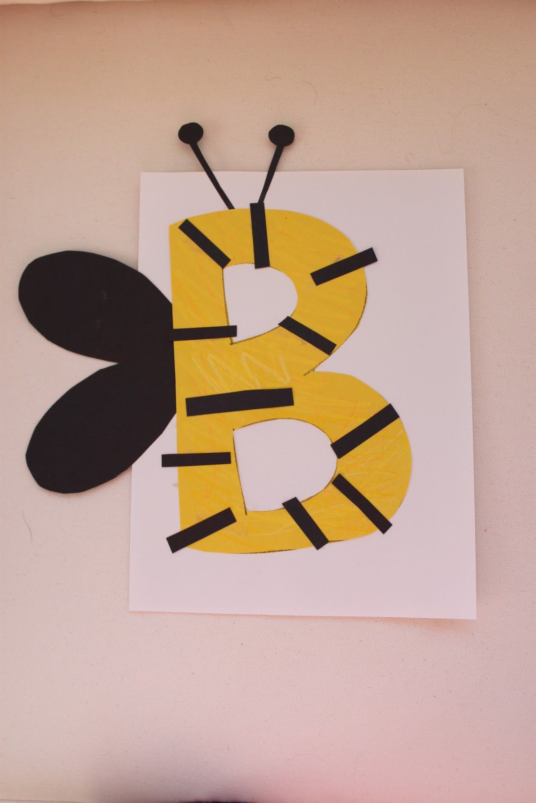 letter B craft for Jack's preschool class after the kids made one we buzzed around my house like bumble bee's it was so much fun.