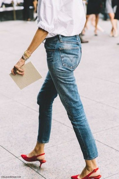 91f53a16aeb shoes kitten heels tumblr red sandals red shoes slingbacks mid heel sandals  blue jeans jeans shirt white shirt streetstyle