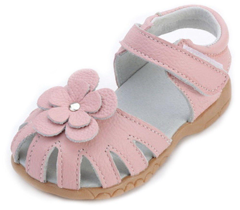 Femizee Girls Genuine Leather Soft Closed Toe Princess Flat Shoes
