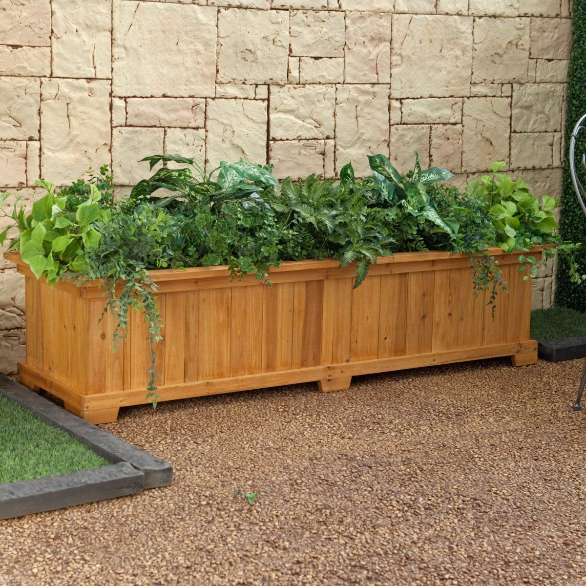 Rectangular cedar wood aster patio planter box planter for Large garden planter ideas