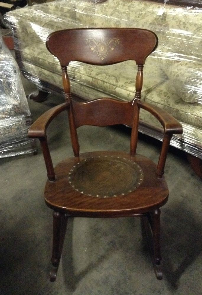 ANTIQUE HITCHCOCK STYLE ROCKING CHAIR W/ LEATHER EMBOSSED SEAT CA. 1920u0027S  #HITCHCOCK #