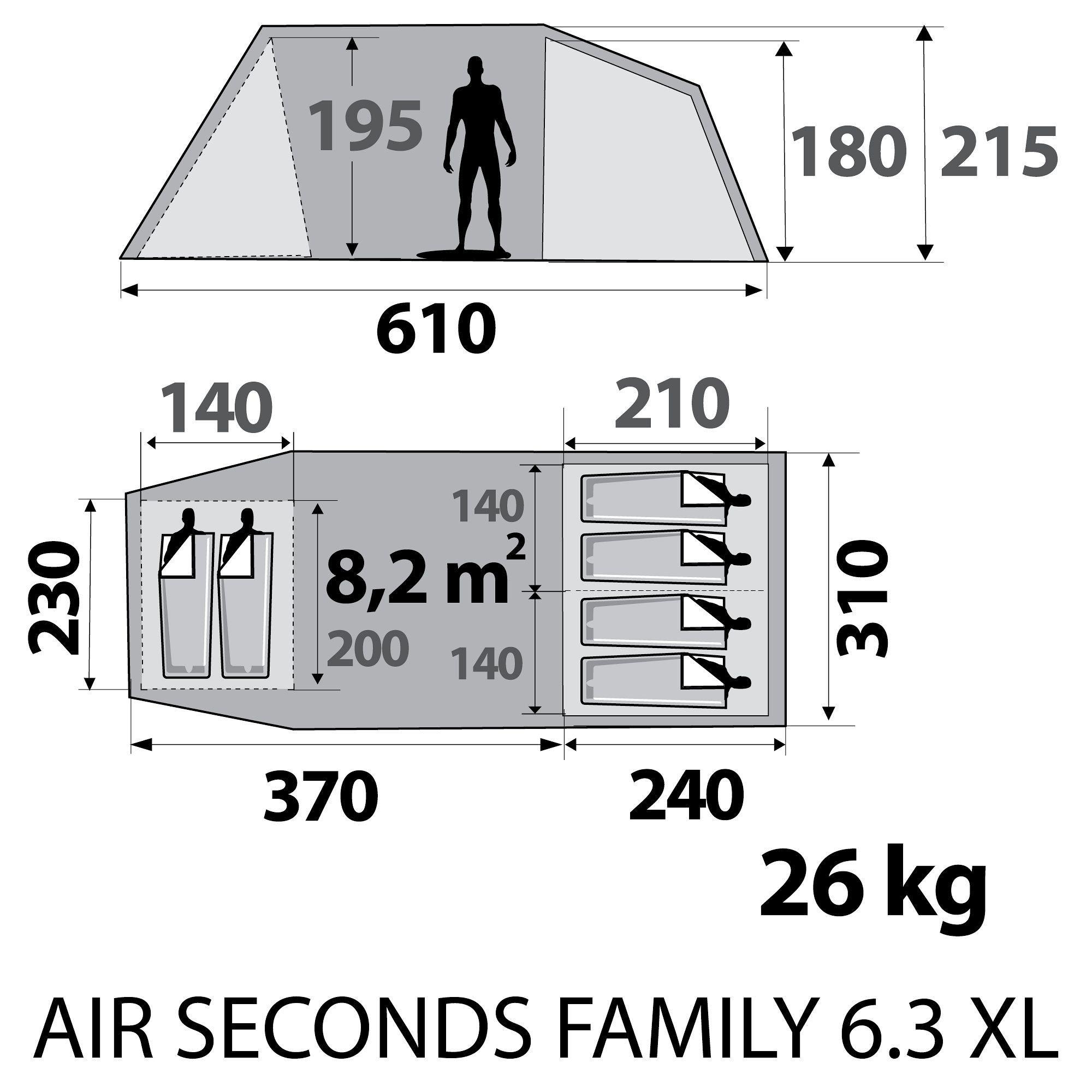 tente de camping air seconds family 6 personnes grise quechua d cathlon moustiquaire. Black Bedroom Furniture Sets. Home Design Ideas
