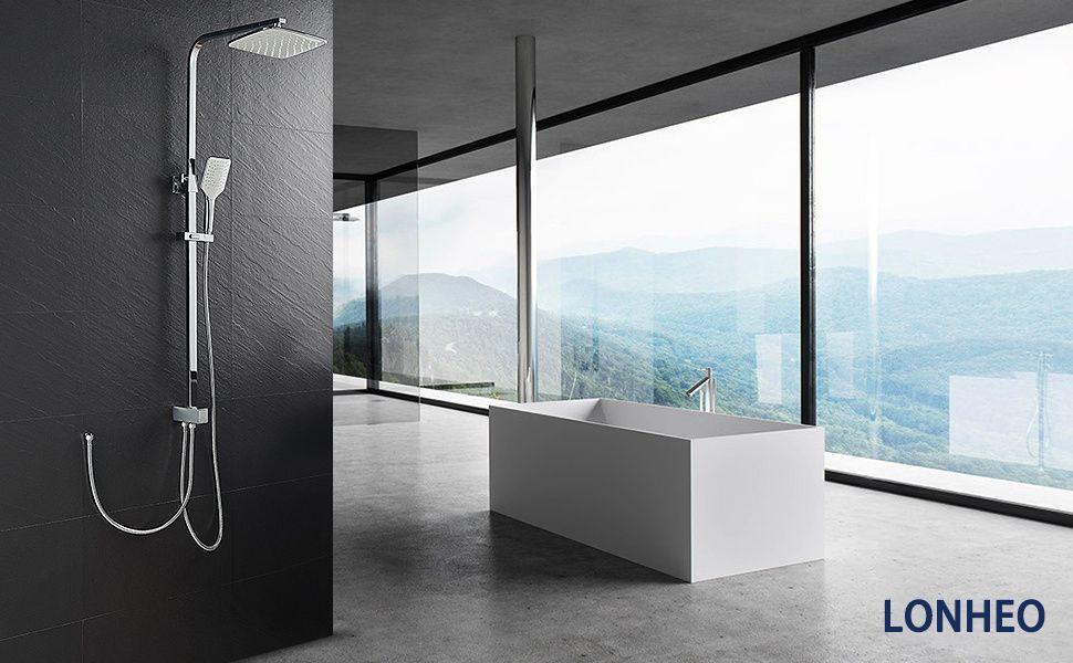 Lonheo Edelstahl Duschset Duschsystem Ohne Armatur Regendusche