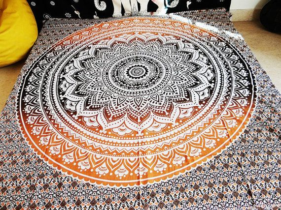 ANO 026 Ombre Mandala Tapestry Bedspread Queen by MadeByMiKiShop
