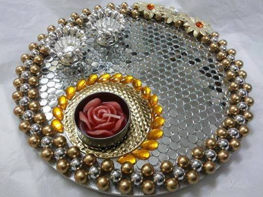 Thali decoration tips for weddings at banquet halls in for Aarti thali decoration ideas