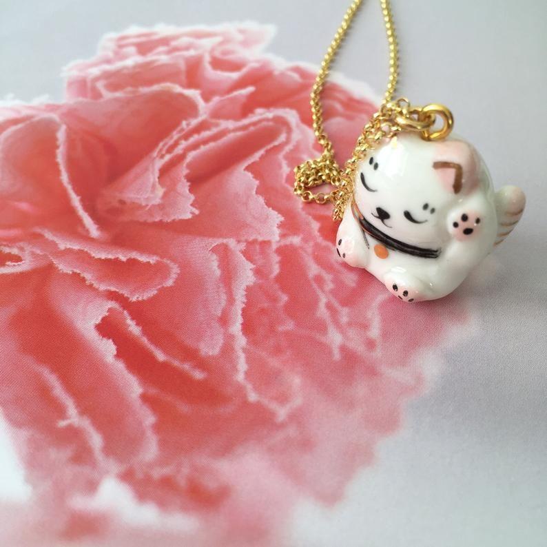 Miniature porcelain maneki neko pendant on vermeil chain image 5