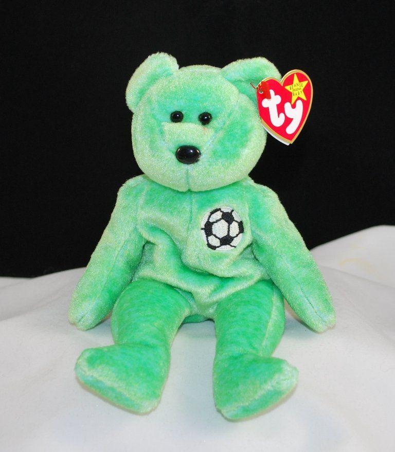TY Beanie Babies Dark Green Fuzzy 2001 Holiday Teddy Plush Bear Christmas RARE