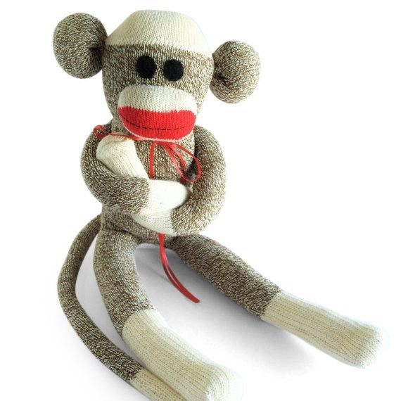 Meet Oliver, a big, cuddly sock monkey, made with love by Missy's Monkeys.