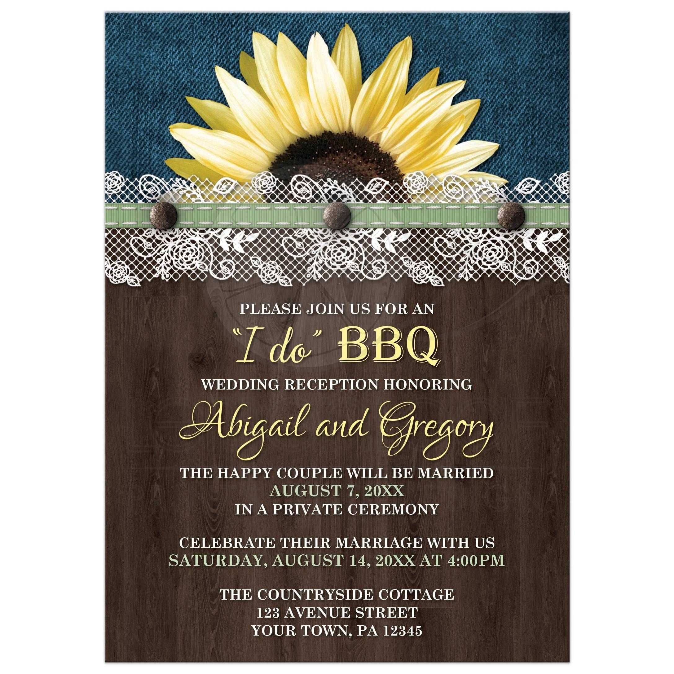 Reception Only Invitations - Sunflower Denim Wood Lace I Do BBQ ...