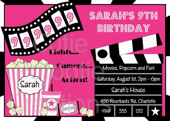 Movie Birthday Invitations Movie Night by CutiesTieDyeBoutique – Free Printable Party Invitations for Kids Birthday Parties