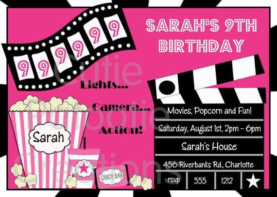 movie themed birthday party Movie Birthday Invitations Movie Night