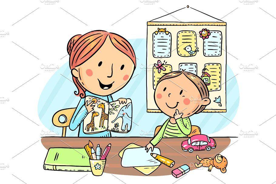 Child And Teacher Reading A Book Children Illustration Illustration Design Books To Read