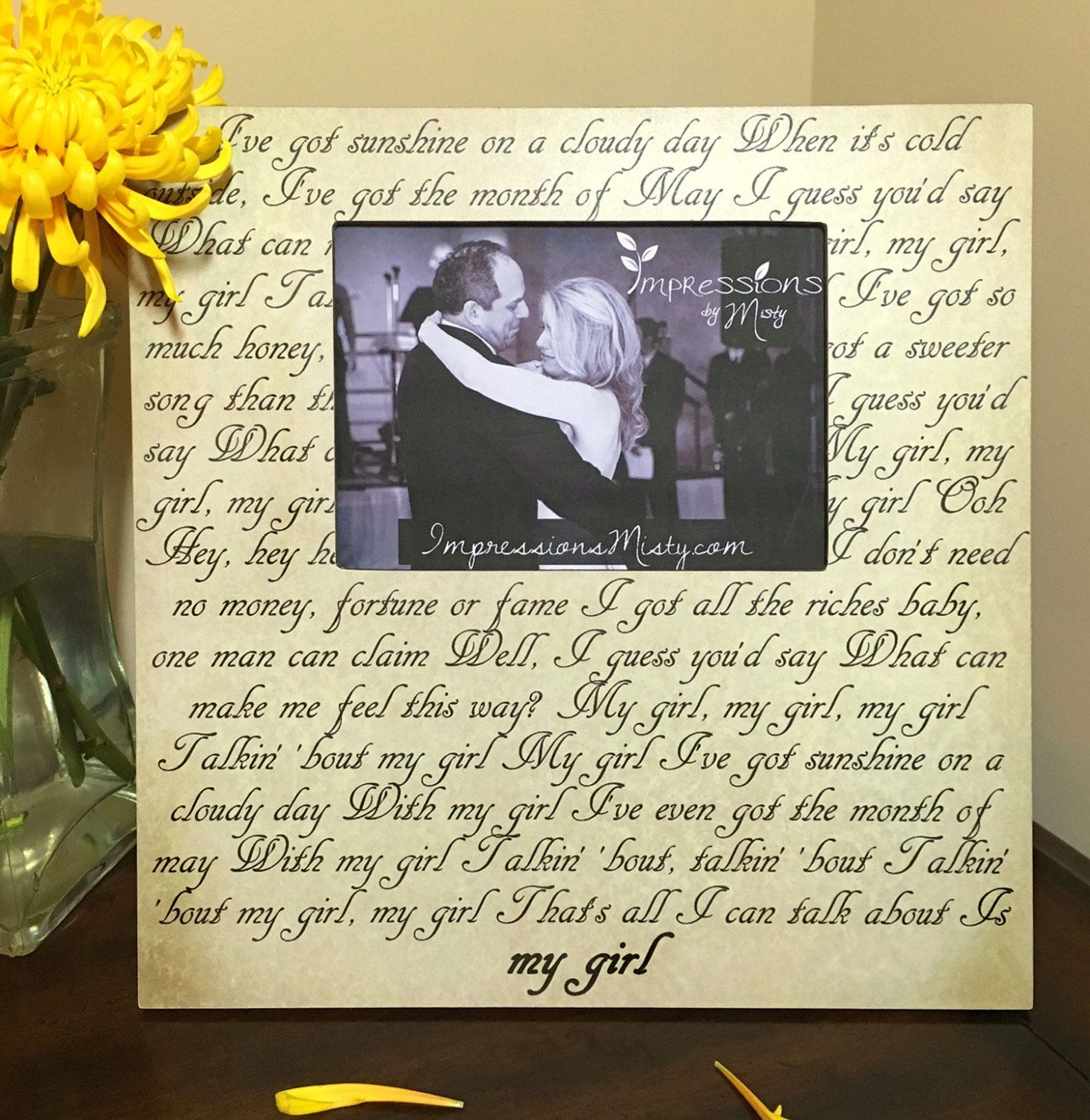 Unique Wedding Gift Song Lyric Picture Frame For Dad Daughter