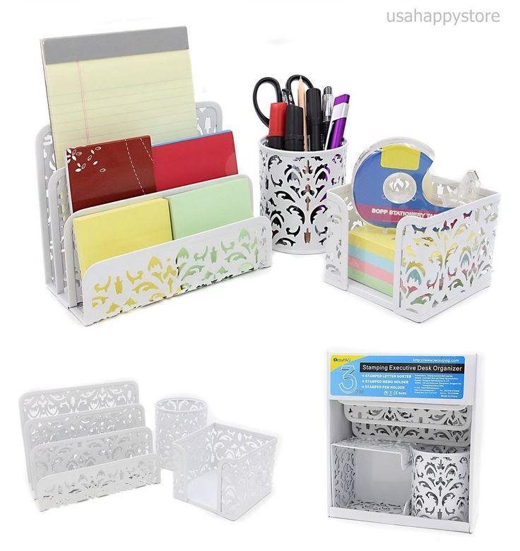 Desk Drawer Organizer Paper Set Shelf Office Cute White