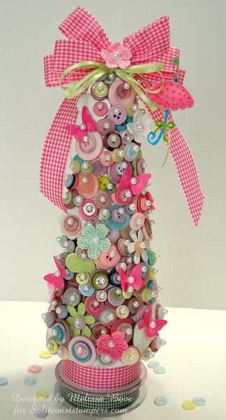 Another button stash idea!  buttons, pins and ribbon christmas tree