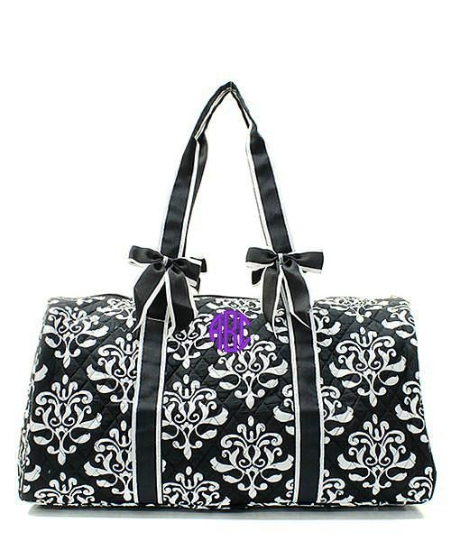 c413d01723 Personalized Damask Bloom Large Quilted Duffel Bag - Black   White ...