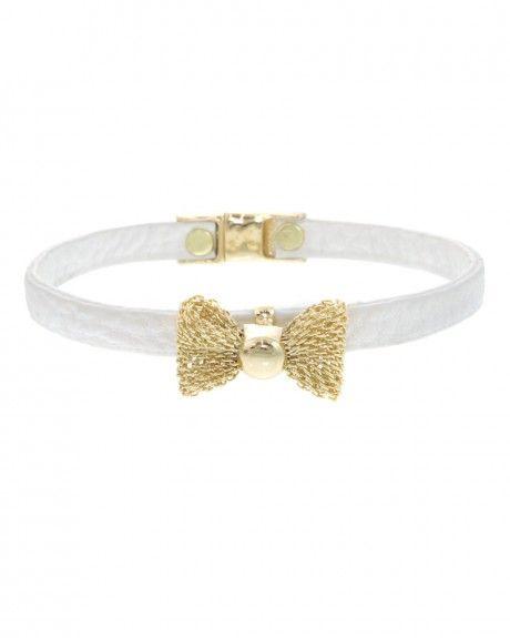 Women S White Gold Mesh Bow Bracelet Magnetic Closure
