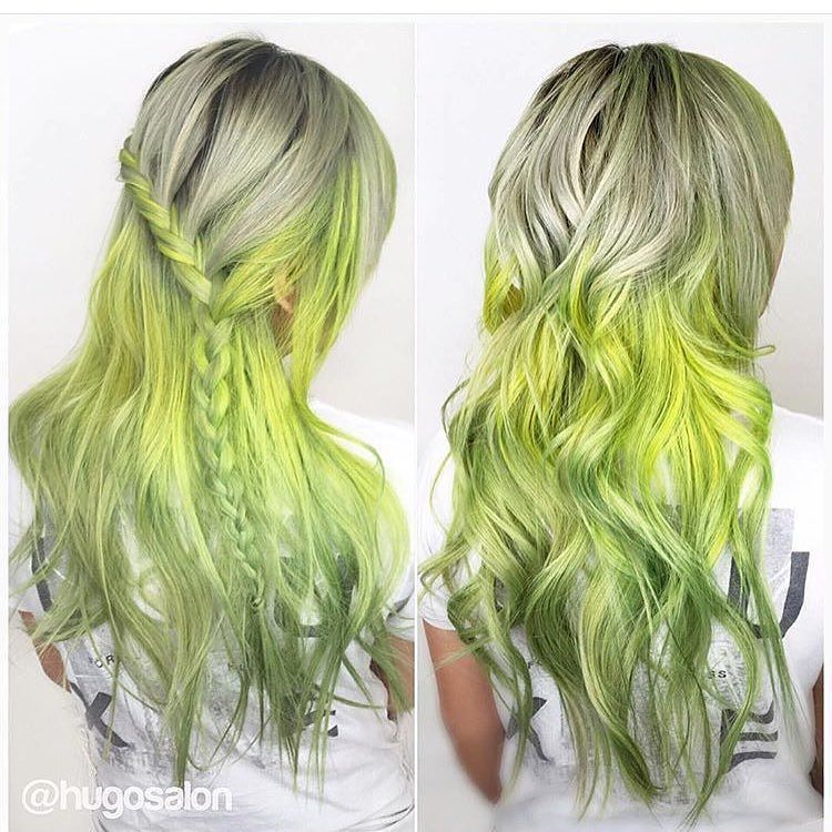 Funky Lime Yellow Green Balayage On Light Blonde Hair Hair