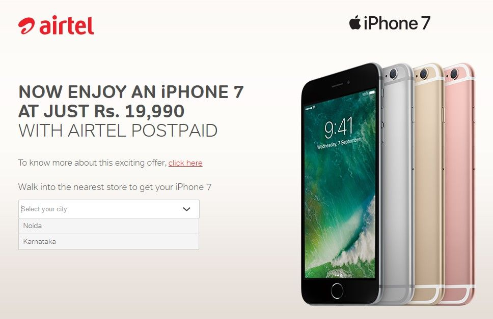 IPhone 7 From Rs. 19, 990 Onwards; Offer By Airtel (T&C
